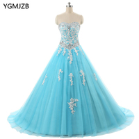 Blue Quinceanera Dresses 2018 Prom Gown Beaded Appliques Lace Vestidos De 15 Anos Sweet 16 Dress Ball Gown Debutante Gowns