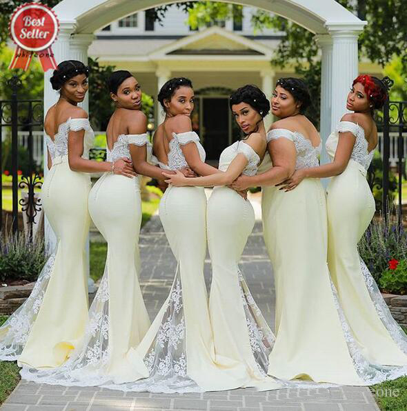 2019 Bridesmaid Dresses African Wedding Guest with sheer lace applique sweep train plus size Maid Of Honor Dress