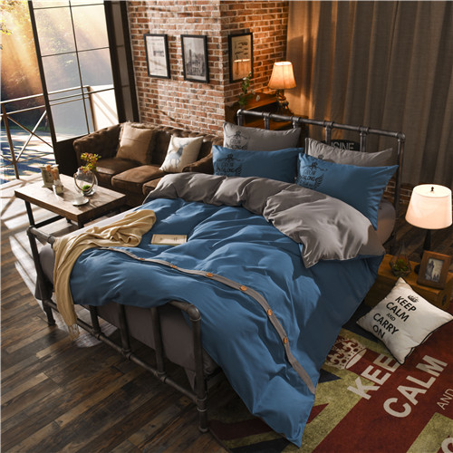 Modern Bedding Sets with button reactive Printing 4pcs Queen Size Home Textile Bedclothes Bed Linen Duvet Cover Set