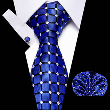 New Blue Plaid men ties set Extra Long Size 145cm*7.5cm Necktie  100% Silk Jacquard Woven Neck Tie Suit Wedding Party