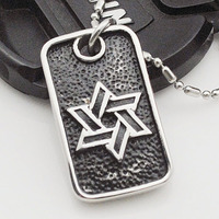 Vintage Casting Six Star Pendant Necklace Dog Tag Jewelry USA STYLE For Men Boy Stainless Steel