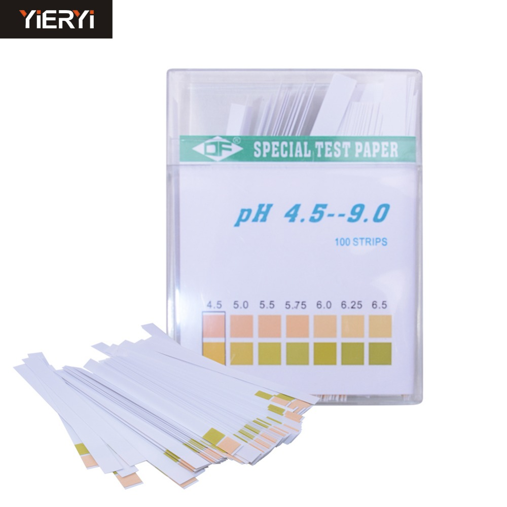 yieryi 100 Strip Test Paper PH Two Color Saliva Slaver For Urine Pregnancy Value 4.5 9.0 Include Packcing Box