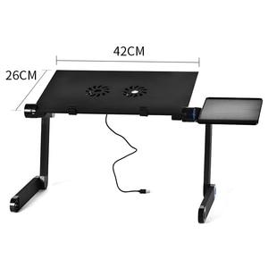 Image 5 - Depo dizüstü bilgisayar masası taşınabilir katlanabilir bilgisayar masası yatak Laptop standı tepsisi masası soğutma fanı ile Mouse Pad