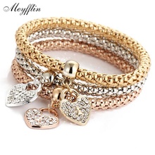 3PCS Set Crystal Heart Bracelets & Bangles 2017 Fashion Gold Plated Elastic Bracelets for Women Multilayer Pulseira Masculina