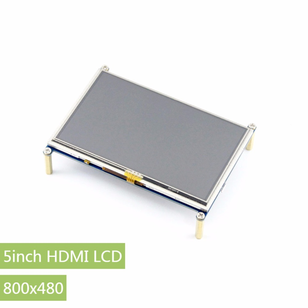 Parts 2pcs/lot5inch HDMI LCD Display 800*480 TFT Resistive Touch Screen HDMI Interface for All Rev of Rapsberry pi(Pi 3) A/A+/B/ 8 4 8 inch industrial control lcd monitor vga dvi interface metal shell open frame non touch screen 800 600 4 3