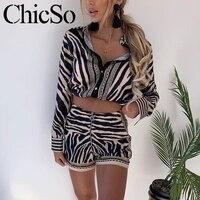 MissyChilli Two piece suit women jumpsuit rompers Pocket zebra print black sexy short jumpsuit Summer v neck overalls playsuit
