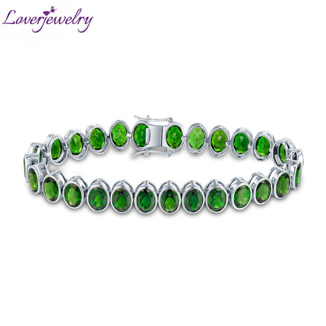 New!100% Natural Green Tourmaline Bracelet Bangle Genuine Gemstone Bracelet Solid 14Kt White Gold For Sale NA0012