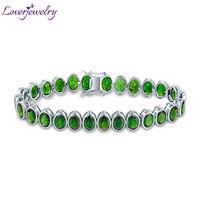 New!100% Natural Green Tourmaline Bracelet Bangle Genuine Gemstone Bracelet Solid 14Kt White Gold For Sale NA0012
