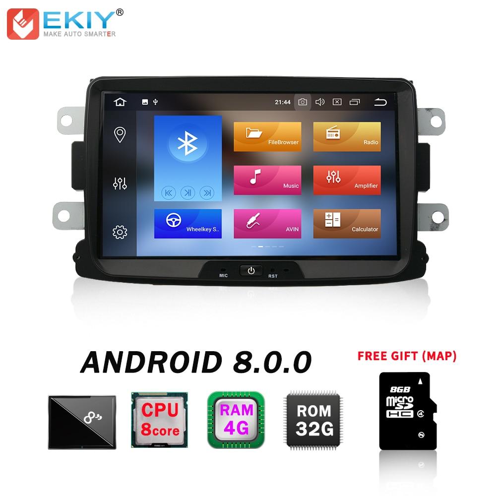 EKIY Voiture Lecteur Multimédia Android 8.0 Automotivo 1 Din Pour Dacia Sandero Duster Renault Captur Lada Xray 2 Logan 2 SPG 4G + 32G
