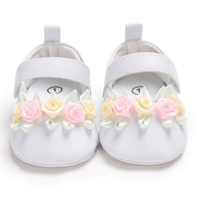 Baby Shoes For Girls Newborn Toddler Simple Small Fresh Flower First Walkers Baby Girl Toddler Princess PU Shoes