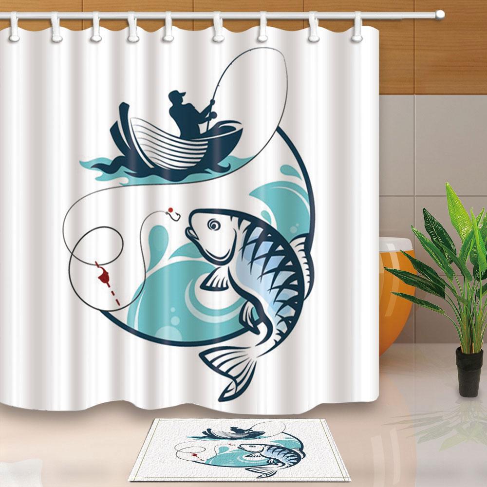 Sea Fishing Seashell Fabric Shower Curtain For Bath Home