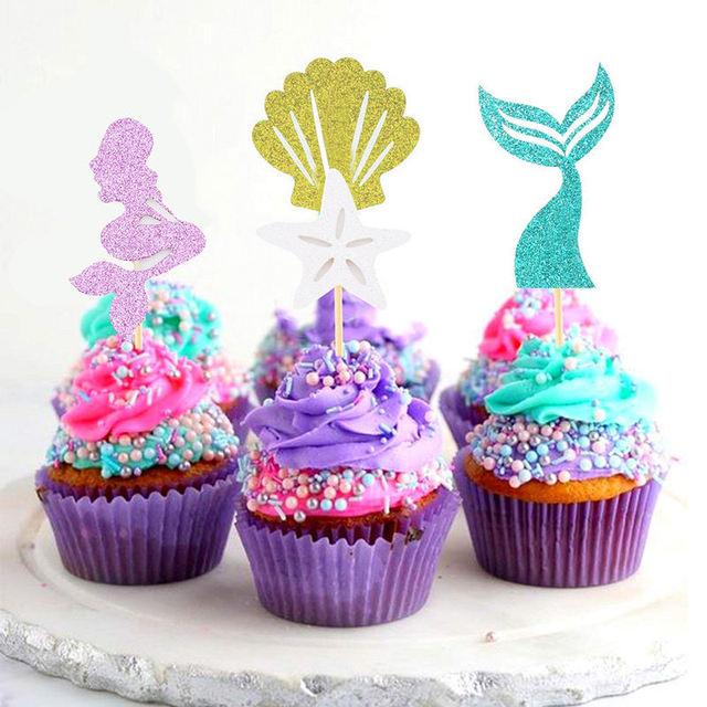 24pcs Happy Birthday Cupcake Topper Ocean Sea Party Theme Mermaid