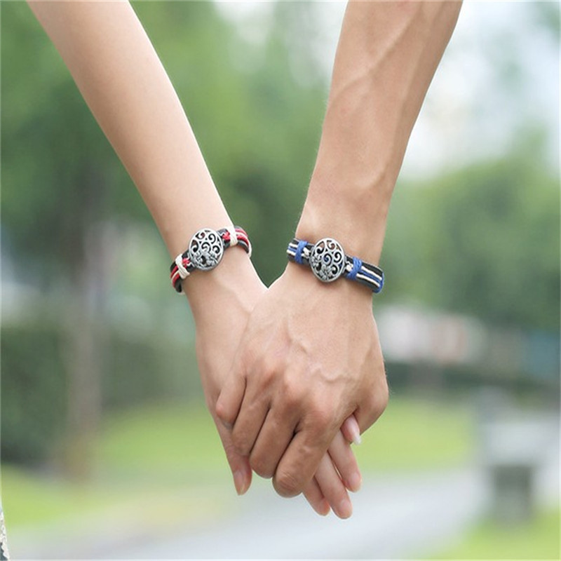 Fashion Simple Style love Leather Bracelet for Women Men Lovers Jewelry Braided Leather Chain Cuff Couple Bracelets Male Female ...