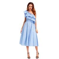 Vogue One Shoulder Ruffle Summer Dress Party Elegant Women Sexy High Waist Pocket Sleeveless Summer A Line Dress Vestido Longo