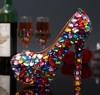 10/12/14cm heels Plus size mixed color rhinestones parties shoes for women TG266 STABLE PLATFORMS comfortable wedding party shoe