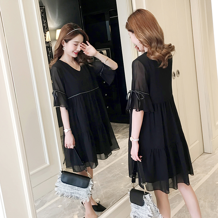 c68ad312df9d5 Detail Feedback Questions about 2019 Loose Summer New Chiffon Pregnant  Women Dress Short Flare Sleeve V neck Black Elegant Maternity Sweet Loose  Dress Cute ...