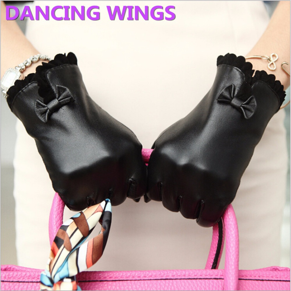 Black gloves with bow - Dancing Wings Black And Brown Genuine Leather Gloves Plus Velvet Elegant Bow Touch Screen Golves Short
