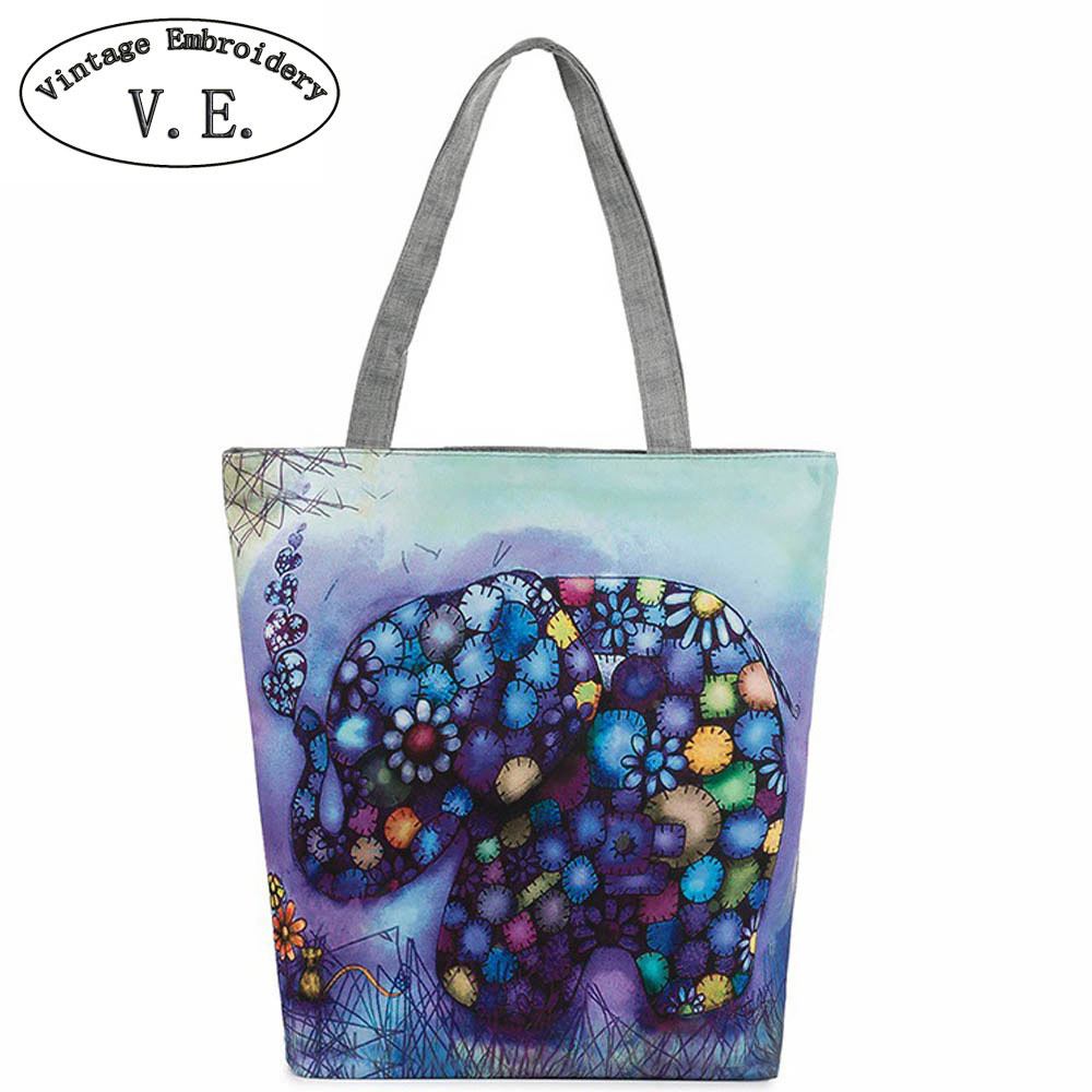 Vintage Women Handbag Elephant Printed Canvas Tote Casual Beach Bags Daily Use Single Shoulder Bags For Shopping Canvas Bag scione new canvas women bag shopping shoulder bag funny design piano printing handbag beach tote woman canvas hand bags 2pcs set