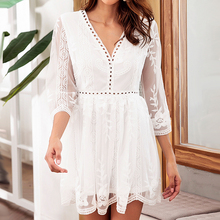 BEFORW Party Sexy V Neck Mini Dress Elegant Lace Embroidery Hollow Out Dress Women Fashion Casual Summer White Dresses Vestidos цена и фото