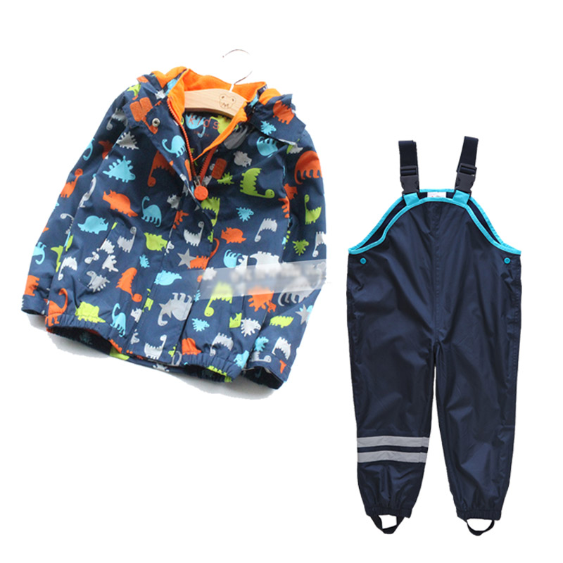 children/kids/boys wind suit jacket and pants, windbreaker set, kids clothing set, dinasour fleece lining jacket yallo kids