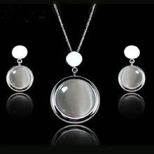 Envío de La Manera de Italina joyería del Oro Blanco Plateó Opal Collar Y Pendientes Establecidas Joyas de Moda para las mujeres de Regalo