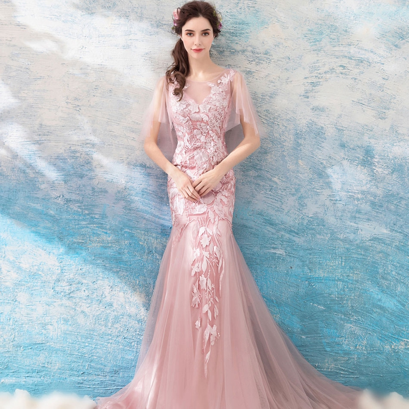 abule Evening Dresses sheer v neck Leaves lace up mermaid Elegant Formal  Party Gown Custom Evening gowns robe de soiree 2018 -in Evening Dresses  from ... 289028884469