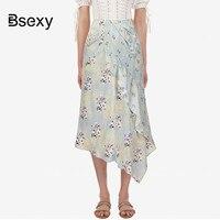 Faux Silk Skirt Women 2019 Self Portrait Flower Print Ruffle Irregular Skirt High Waist Kawaii Chiffon Long Skirt Midi spodnica