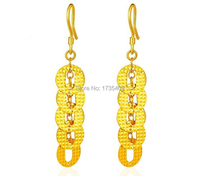 Pure 24K Yellow Gold Earrings / Craved Many Money Coin Dangle Earrings/ 6.78g