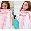 Новая Корейская мода вуаль шарф солнцезащитный крем Женщины маленький цветочный шарфы БОЛЬШОЙ РАЗМЕР 180*90 см