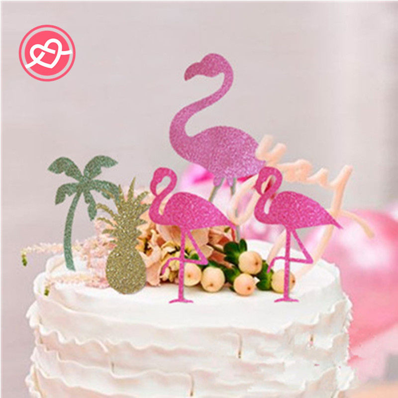 4pcs Pink Flamingo Party Decoration Cupcake Topper Picks Tropical