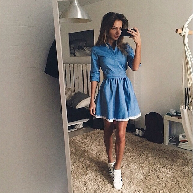ab0603005 2016 Summer European Jeans Dress Long-Sleeve Lapels Cotton Dresses Elegant  Casual Women Denim Dress Female Clothing Vestidos