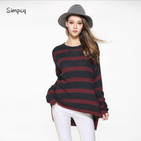 Striped Standard O neck Pullovers Long Computer Knitted Belt Full Limited Special Offer Jumper Poncho Charm Women Sweater