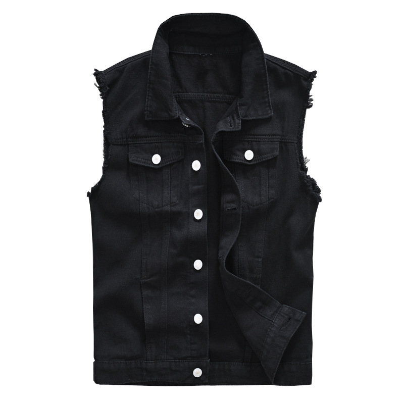 Sokotoo Men's Black Jean Vest Slim Fringe Denim Waistcoat Sleeveless Tank Top
