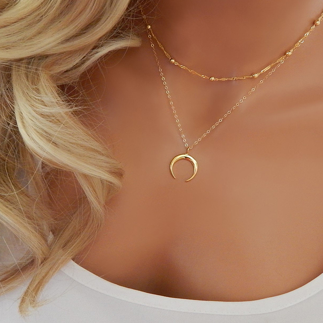 New Fashion Double Horn Necklace, Crescent Moon Necklace, Boho Jewelry, Minimal, Girlfriend Gift XL018