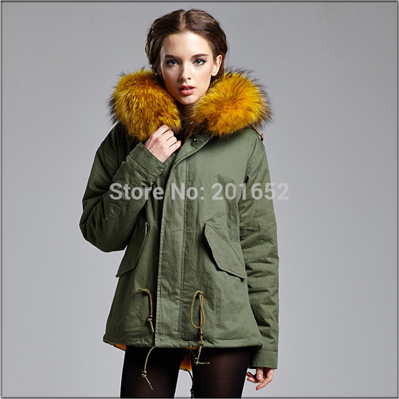 Winter Casual Women Raccoon Dog Fur collar coat army green outwear coats jacket winter jacket women Parka Coats MRS FURS