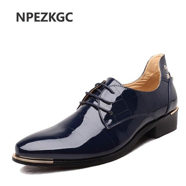 NPEZKGC 2017 Chaussure Homme Mocassins En Cuir Verni Hommes Chaussures  Oxford Chaussures Pour Hommes De Mariage