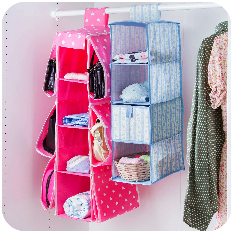 Hot Sales Rectangular 4 Shelf Hanging Storage Net Kids Toy Organizer Bag  Clothing Storage Basket Home