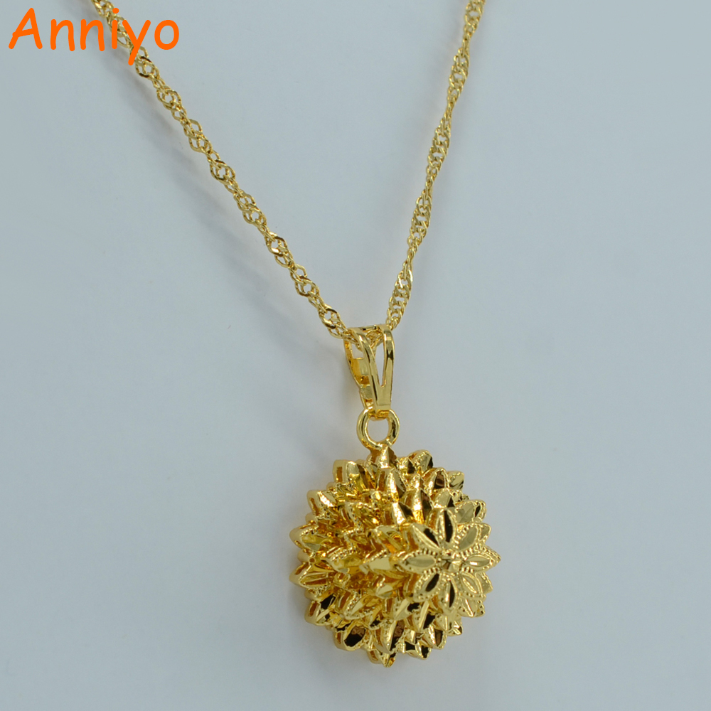 Anniyo Dubai Jewelry for Women Ethiopian Necklace Pendant Gold Color Flower Jewellery Africa/Arab/South America #057A040