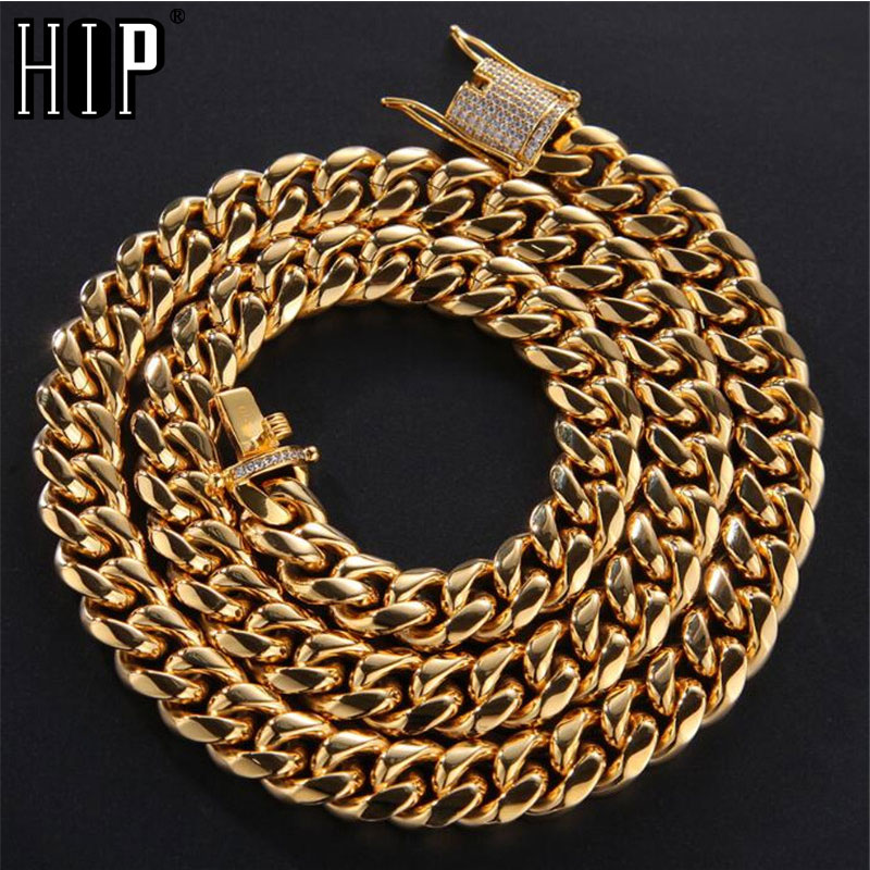 Hip Hop Bling Iced Out Rhinestone Clasp Miami Necklace Mens Gold Silver 316L Stainless Steel Cuban Link Chain Necklaces JewelryHip Hop Bling Iced Out Rhinestone Clasp Miami Necklace Mens Gold Silver 316L Stainless Steel Cuban Link Chain Necklaces Jewelry
