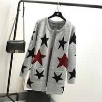 New Autumn Spring Women Sweater Cardigans Casual Warm Long Design Female Knitted Sweater Star Printed Cardigan