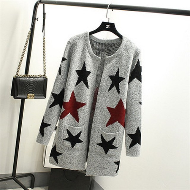 Новая осень весна женщины кардиганы свободного покроя теплый длинная женская вязаный свитер звезда печатных кардиган свитер леди