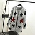 Nueva primavera otoño mujeres Cardigans suéter Casual largo femenino del diseño de punto suéter de la estrella impreso chaqueta de señora