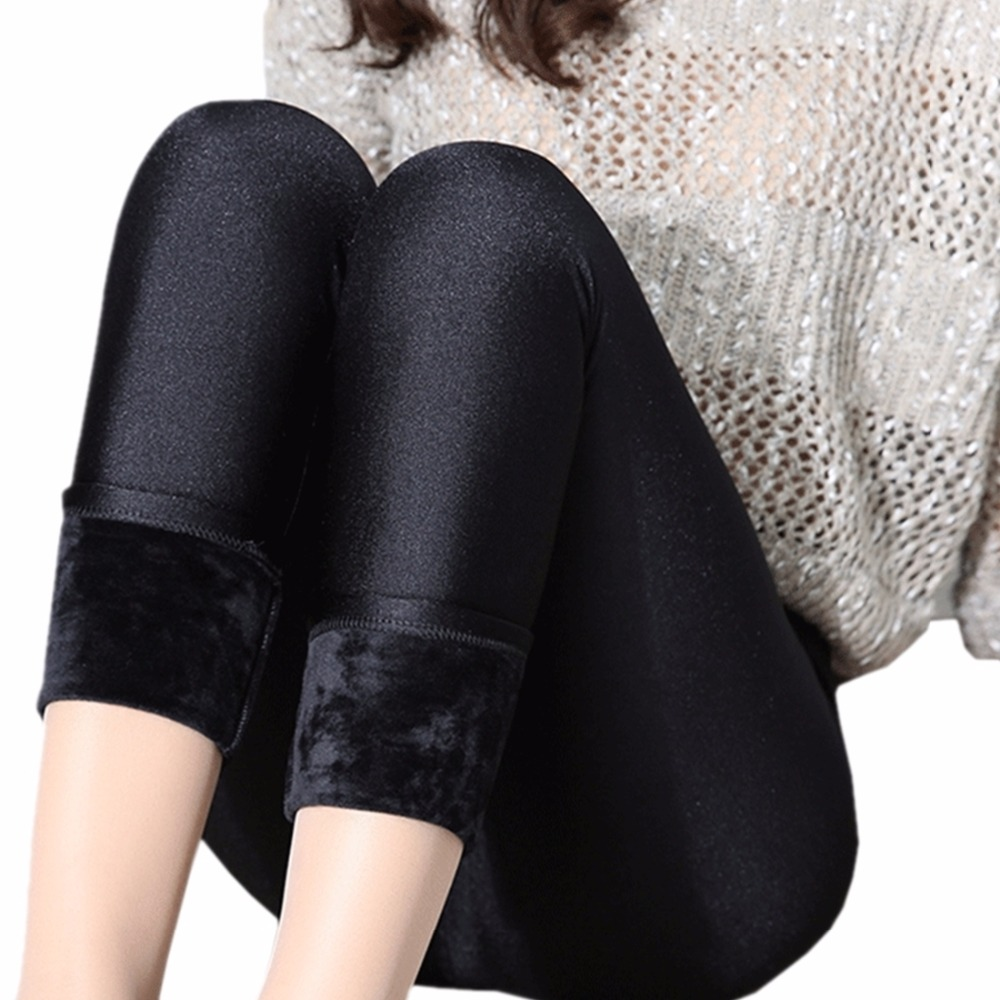 Women Leggings Black Sexy Velvet Shining Leggings Winter Warm Thick Velvet Legging Lady Girls ...