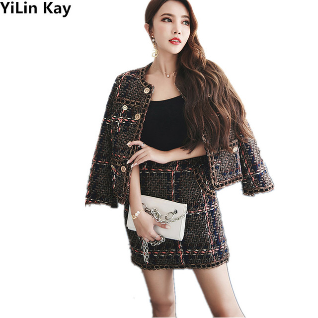 YiLin Kay 2017 High quality tweed runway skirt suits women's autumn and winter brand tweed coat+skirt two pieces sets S-XL
