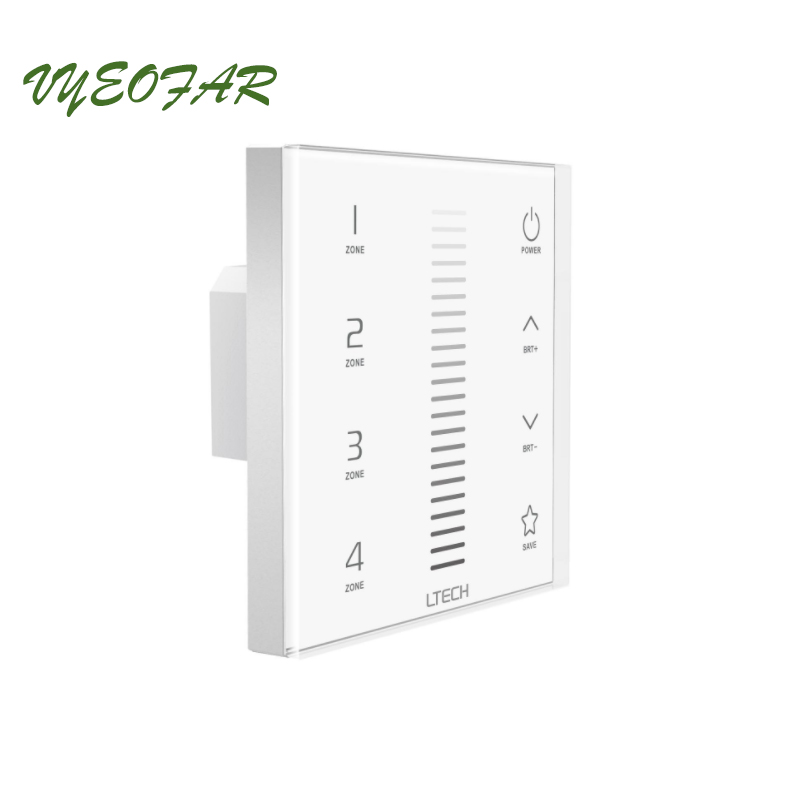 New LED Dimmer 110V 220V Dimmer Controller EX5 Glass Touch Panel 4 zone AC100~240V 2.4G RF Wireless Remote and DMX512 Multi use m3 m4 5a m3 touch rf remote with m4 5a cv receiver led dimmer controller dc5v dc24v input 5a 4ch max 20a output