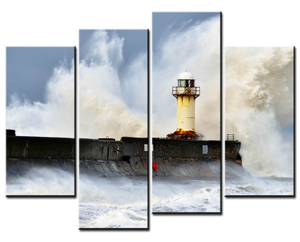 Unframed 4 Pcs Canvas Painting Waves Sea the Beacon Canvas Prints Wall Painting For Living Room Decorations Wall Canvas Art