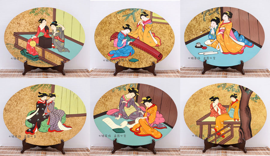 Japan Japanese Lacquer Crafts Decorative Painting Painting Craft Ornaments  Fan Oval Table Variety(China (