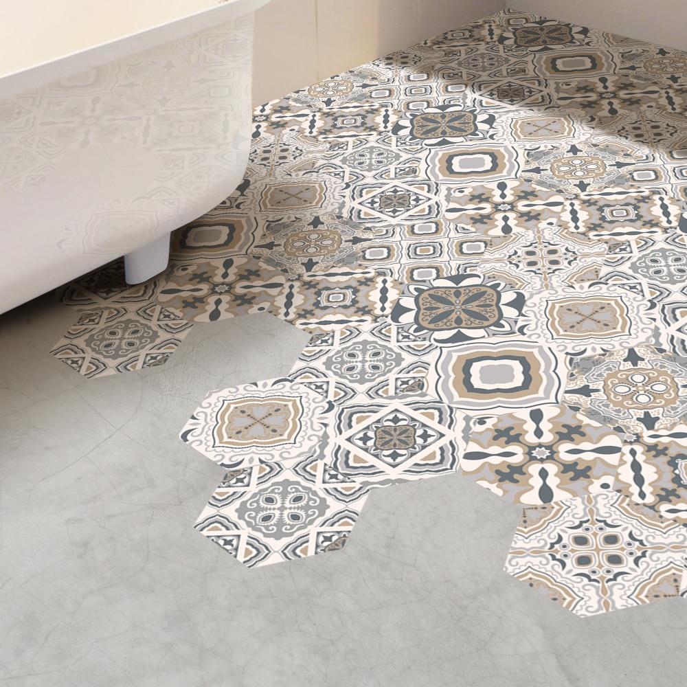 10pcs set Creative Ceramic Tile Pattern Floor Mat Stick Wall Stick Wallpaper Anti slip Waterproof BathRoom Art Home Decor Mural in Wall Stickers from Home Garden