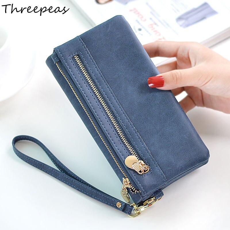 THREEPEAS High Capacity Fashion Women Wallets Long PU Leather Wallet Female Double Zipper Clutch Coin Purse Ladies Wristlet