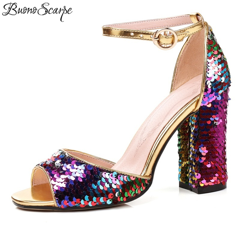 Sandals Shoes Sequines-Heels Bling Colourful Peep-Toe Super-Square Women 9cm 45 Big-Size